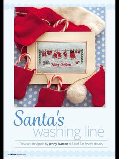 Santa's Washing Line by Jenny Barton Cross Stitch Collection Issue 256 December 2015 Zinio Saved