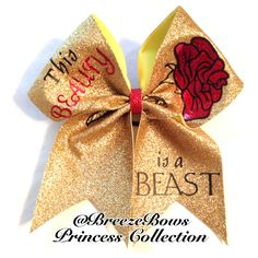 For my beauty! Beauty and the Beast Cheer Bow Cute Cheer Bows, Cheer Hair Bows, Cheer Mom, Big Bows, Cheer Coaches, Cheer Stunts, Cheer Dance, Softball Bows, Cheerleading Bows