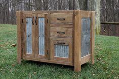 Rustic Vanity 42 Reclaimed Barn Wood w/Barn Tin 8563 by Keeriah
