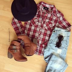Red Long Sleeve Plaid Pockets Loose Blouse