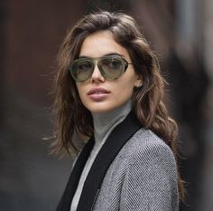 Love the black contrast lapel with the grey herringbone/////Winter Sunglasses, Gucci / Garance Doré Winter Sunglasses, Ray Ban Sunglasses, Sunglasses Women, Celebrity Sunglasses, Sports Sunglasses, Garance, Shady Lady, Silky Dress, Ray Ban Outlet