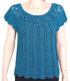 Blue Petrol Shirt Crochet Top Cover-up Summer Shirt T-shirt White Crochet Top, Crochet Summer Tops, Crochet Halter Tops, Crochet Blouse, Crochet Shawl, Summer Blouses, Summer Shirts, Crochet Girls, Crochet Clothes