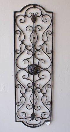 Large Wrought Iron Wall Art large-tuscan-decor-scroll-wrought-iron-metal-wall-grille-grill