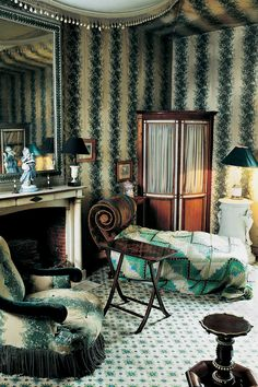 the style saloniste: Celebrating 'The World of Madeleine Castaing' wallpaper Rayure Fleurie by Castaing