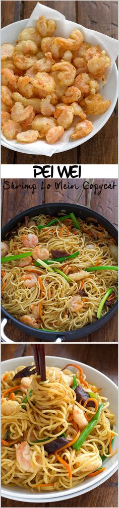 Pei Wei Shrimp Lo Mein Copycat Recipe _ Tastes just like the original, except it's healthier! This recipe is veggie packed & can be made with chicken too. Plus, it's easy to make at home so you can have it anytime! Shrimp Recipes, Copycat Recipes, Fondue Recipes, Pei Wei, My Favorite Food, Favorite Recipes, Asian Recipes, Healthy Recipes, Pizza