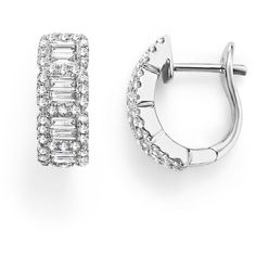 Round and Baguette Diamond Huggie Earrings in 14K White Gold, .75 ct. ($4,800) ❤ liked on Polyvore featuring jewelry, earrings, white, 14 karat white gold earrings, white gold earrings, diamond jewelry, baguette diamond earrings and 14k earrings