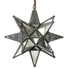 Aged Tin & Glass Mirrored Star Fixture - Moravian  Star