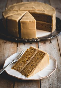 Brown Butter Pumpkin Spice Cake with Penuche Frosting