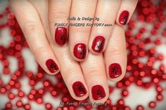 Gelish Red Glitter and Flowers by www.funkyfingersfactory.com