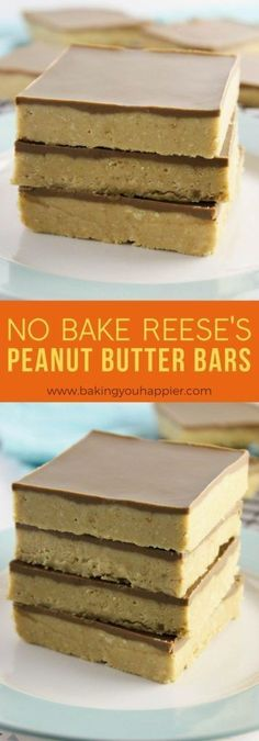 No Bake Reese's Peanut Butter Bars, with only these delicious no bake crowd pleasing creamy Reese's are super quick and easy to make! No Bake Reese's Peanut Butter Bars - No Bake Reese's Peanut Butter Bars Easy No Bake Desserts, Köstliche Desserts, No Bake Treats, Health Desserts, Reese's Peanut Butter Bars, Peanut Butter Recipes, Baking Recipes, Cake Recipes, Dessert Recipes