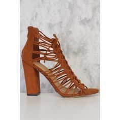 Cognac Side Strappy Detail Front Lace Up Open Toe Chunky Heel Booties Faux Suede Front Lace, Lace Up Heels, Chunky Heels, Gladiator Sandals, Open Toe, Footwear, Booty, Detail, Shoes
