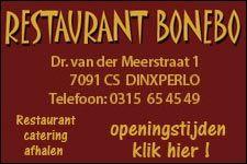 Voor lekker eten gaat u naar Restaurant Bonebo te Dinxperlo .