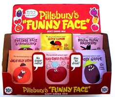 Pillsbury introduced Funny Face Drink Mix in 1964. I loved Pillsbury's Funny Face Drink Mix.....mainly because it had such cute flavor characters!!