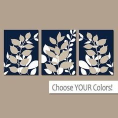 Navy Beige Wall Art Bedroom Pictures Leaves CANVAS or by TRMdesign