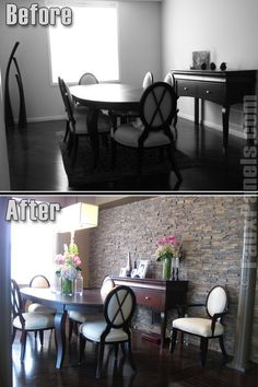 Before-and-after photo shows how adding a faux stone accent wall can bring a dining room to life, adding warmth and style.