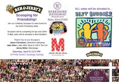 Scoopers will be competing for tips and 100% of ALL sales will be donated to Best Buddies.  Join us Saturday, April 9th 12-2pm at 34 Phila Street Ben & Jerry's...