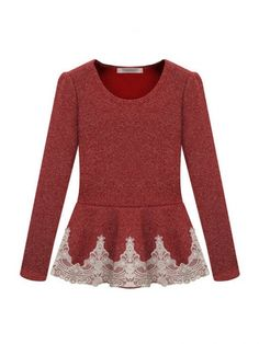 Hot Sale Round Collar Puff Sleeve Lace Knit Blouse