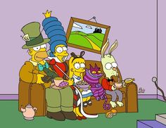 Simpsons couch gag. Alice in Wonderland. Mad Hatter. Cheshire Cat. Lisa Bart Homer Marge.