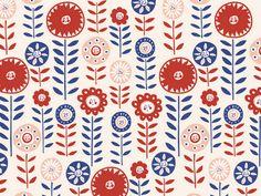 Orla Kiely style Christmas flowers