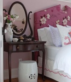 I like the small vanity as a night-stand idea.  This may be a way for me to get a vanity and nightstand in Alyssas small room