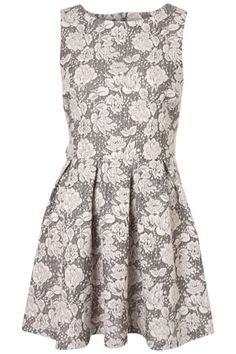 Texture Flower Skater Dress - StyleSays