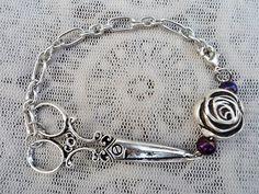 Silver Rose and Purple Beaded Hair Stylist by ShearStyleJewelry, $16.00 www.etsy.com/shop/shearstylejewelry