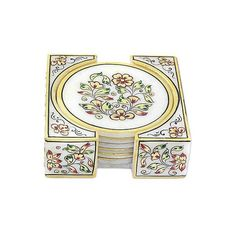 NOVICA Indian Floral Painted Marble Coasters with Base (Set of 6) ($63) ❤ liked on Polyvore featuring home, kitchen & dining, bar tools, barware, coasters, gold tone, homedecor, tableware & entertaining, square coasters and floral coasters