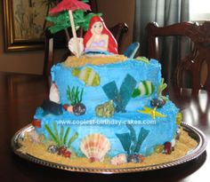 Homemade Little Mermaid Birthday Cake: I made this Little Mermaid Birthday Cake for a third birthday party.  Both levels are double layer.  This made the cake fairly heavy, so before icing,