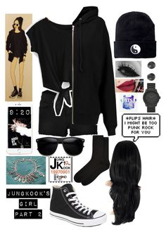 """Jungkook's Ideal Girl: Part 2"" by lushbabygirl ❤ liked on Polyvore featuring beauty, J Brand, BLK DNM, Converse, Accessorize, LEFF Amsterdam and SO"