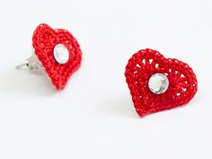 Heart Post Earrings - Swarovski Elements Crystals - Crochet Lace Earrings - Red Hearts - Tiny Stud Earrings -  Valentines Day - Fiber Art