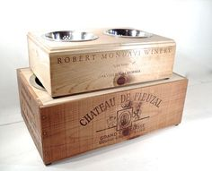 Elevated Dog Feeder Wine Box Raised Bowls Double by perfectpatina on Etsy.  DIY doable?