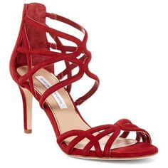 Diane von Furstenberg Rao Midi Heel Sandal ($170) ❤ liked on Polyvore featuring shoes, sandals, red, strappy stiletto sandals, high heel stilettos, stiletto sandals, stiletto shoes and red shoes