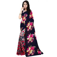 Smart Blue Color Premium Georgette Printed Saree at just Rs.499/- on www.vendorvilla.com. Cash on Delivery, Easy Returns, Lowest Price.