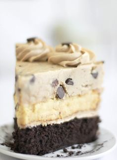 Chocolate chip cookie dough devils food cake cheesecake - wow!
