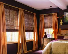 M&B Woven Wood Shades & Bamboo Shades. Save on Woven Wood and Bamboo shades online with Blinds Discount. Patio Blinds, Diy Blinds, Outdoor Blinds, Fabric Blinds, Curtains With Blinds, Privacy Blinds, Blinds Ideas, Drapery Panels, Roman Blinds