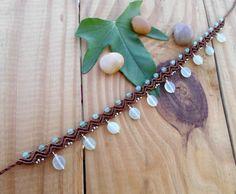Agate macrame anklet tribal anklet gemstone anklet by SelinofosArt