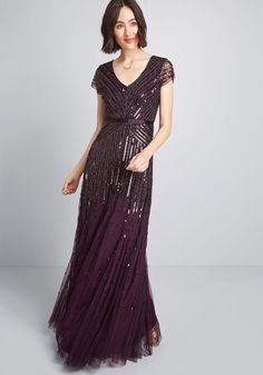 127b7b9f98f Sparkle Within Maxi Dress in 10 - Short Sleeve by Adrianna Papell from  ModCloth Formal Gowns