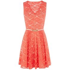 Oasis Isabell Lace Skater Dress, Coral (338.645 IDR) ❤ liked on Polyvore featuring dresses, vestidos, robes, coral lace dress, lace sleeve dress, red summer dress, lace dress and red skater skirt