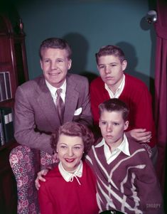 """January 1953. """"Ozzie, Harriet, David, and Ricky Nelson of television show The Adventures of Ozzie and Harriet,"""" a sitcom that ran from 1952 to 1966. Color transparency by Earl Theisen for Look magazine."""