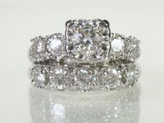 Vintage Diamond Wedding Ring Set  151 Carats