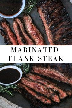 Marinated Flank Steak — Jillian Rae Cooks Prepare this the night before and grill it up for an easy hassle-free meal! If you have any leftovers, this makes an amazing steak sandwich with the sauce poured overtop. Steak Marinade Recipes, Grilling Recipes, Meat Recipes, Cooking Recipes, Recipes With Flank Steak, Grilled Steak Marinades, Crockpot Flank Steak Recipes, Flat Iron Steak Marinade, Steak Fajita Marinade