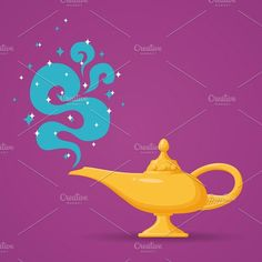 Magic lamp or Aladdin by Microvector on @creativemarket