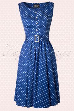 Hearts & Roses - 50s Sally Polkadot Swing Dress in Blue