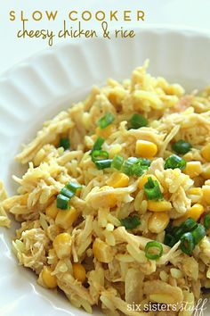 Slow Cooker Cheesy Chicken and Rice on SixSistersStuff.com