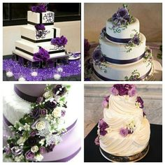 Some wedding cake ideas accented in purple