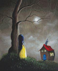 Cross Stitch Kit - Snow White By Shawna Erback - Fairy Tale Modern Art Cross-Stitch Snow Images, Fantasy Cross Stitch, Witch Cat, Moon Art, Cross Stitch Charts, Beautiful Artwork, Dark Art, Cross Stitching, Fairy Tales