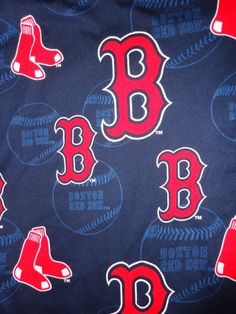 Red Sox cotton fabric dark blue background material scrap.   http://www.etsy.com/listing/123809009/red-sox-cotton-fabric-dark-blue#