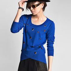 2013 New Autumn Beaded Pure Color Round Collar Long Sleeve Loose Knitwear -4