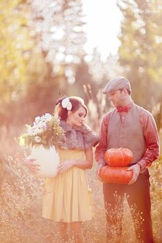 I really like this color treatment and prop use... Could go with the apple picking idea