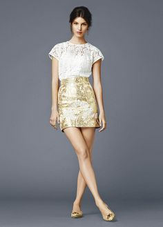 dolce and gabbana ss 2014 women collection white and gold short dress
